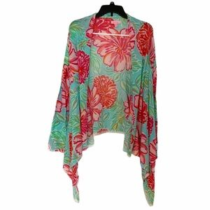 Lilly Pulitzer Rare Floral Babs Wrap Cardigan Pink